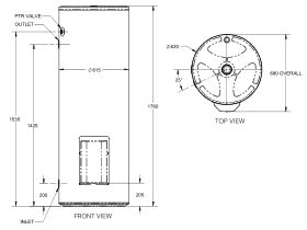 Thermann Commercial Electric Storage 315L 3&6 Element Line Drawing