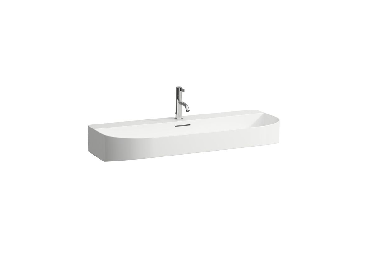 LAUFEN Sonar Wall Basin with Overflow 2 Taphole 1000x420 with Fixing Bolts White