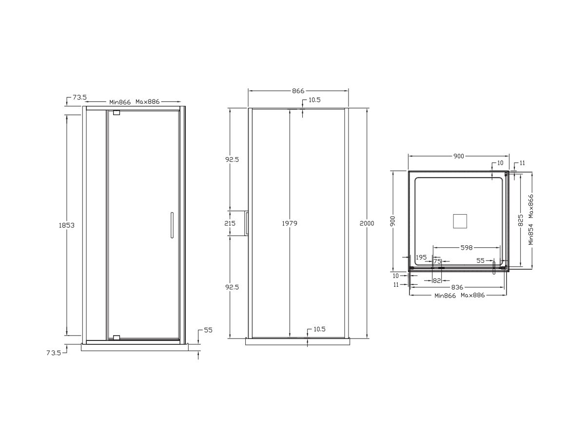 Base MKII Shower Screen & Shower Base with Centre Outlet 900mm x 900mm Chrome
