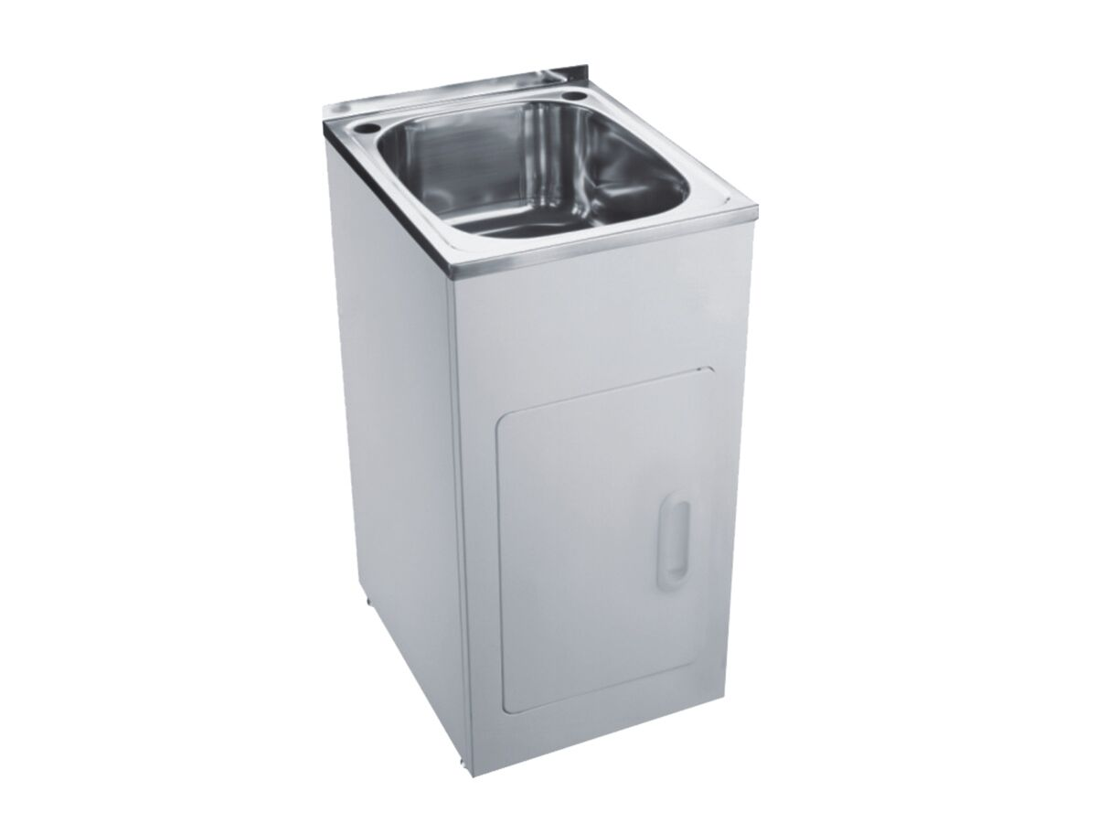 Base Laundry Trough & Cabinet 1 Taphole Stainless Steel/ White