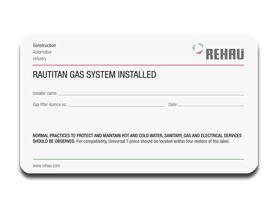 Rehau Gas Anz System ID Label (50)