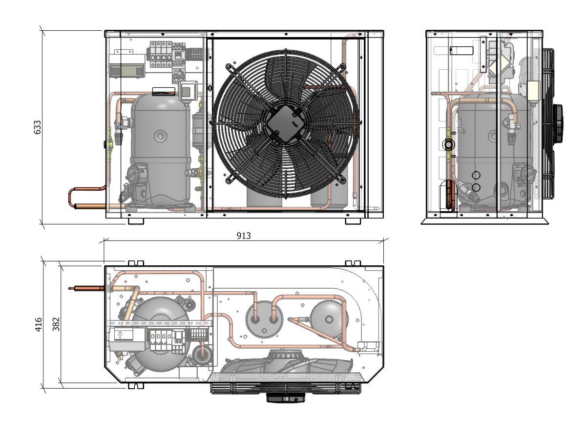 Tecumseh Compac Condensing Unit R404A PAC4524Z 3 Phase