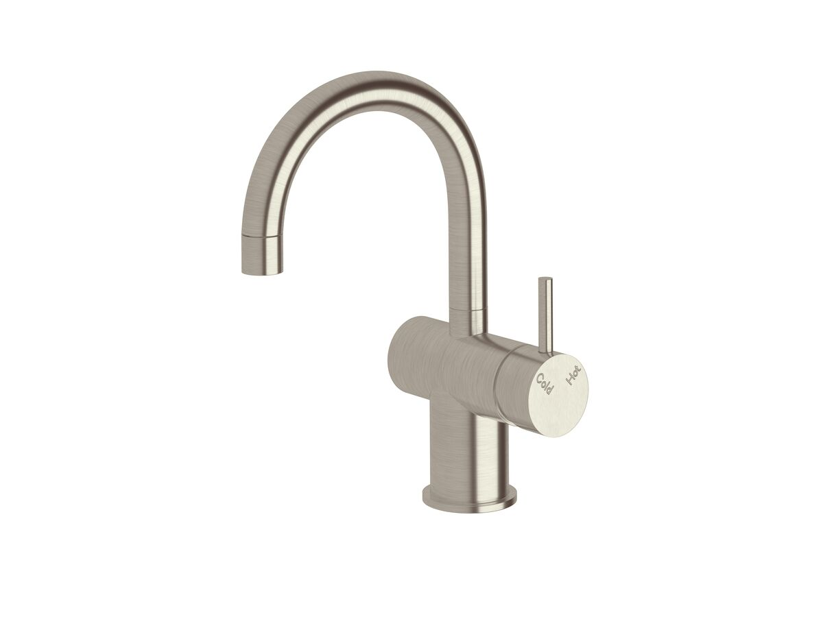 Scala Basin / Sink Mixer Tap Small Curved Spout Right Hand LUX PVD Brushed Oyster Nickel (4 Star)