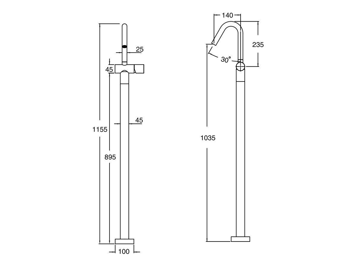 Milli Pure Floor Mounted Basin Mixer Tap Trimset (5 star)
