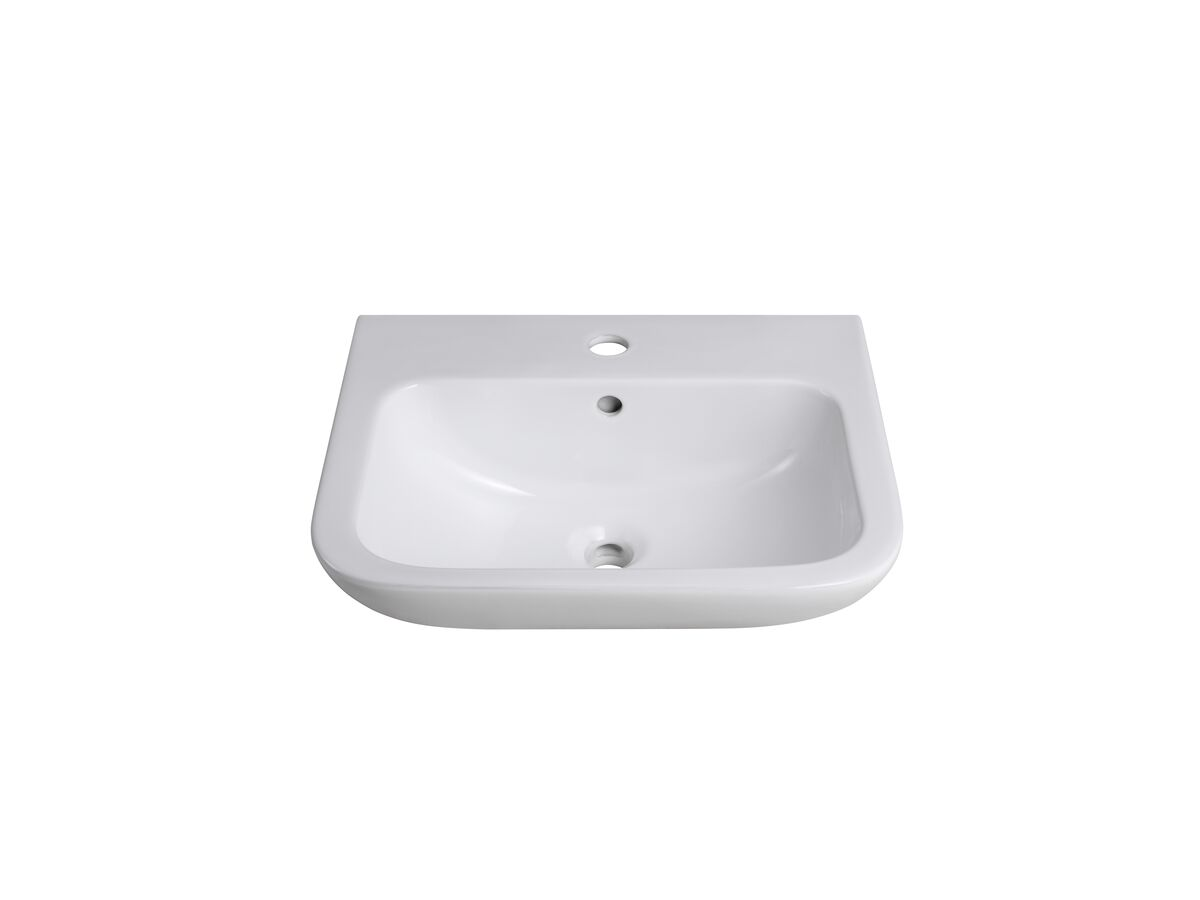 Wolfen Wall Basin Only 500 x 420mm Overflow 1 Taphole White