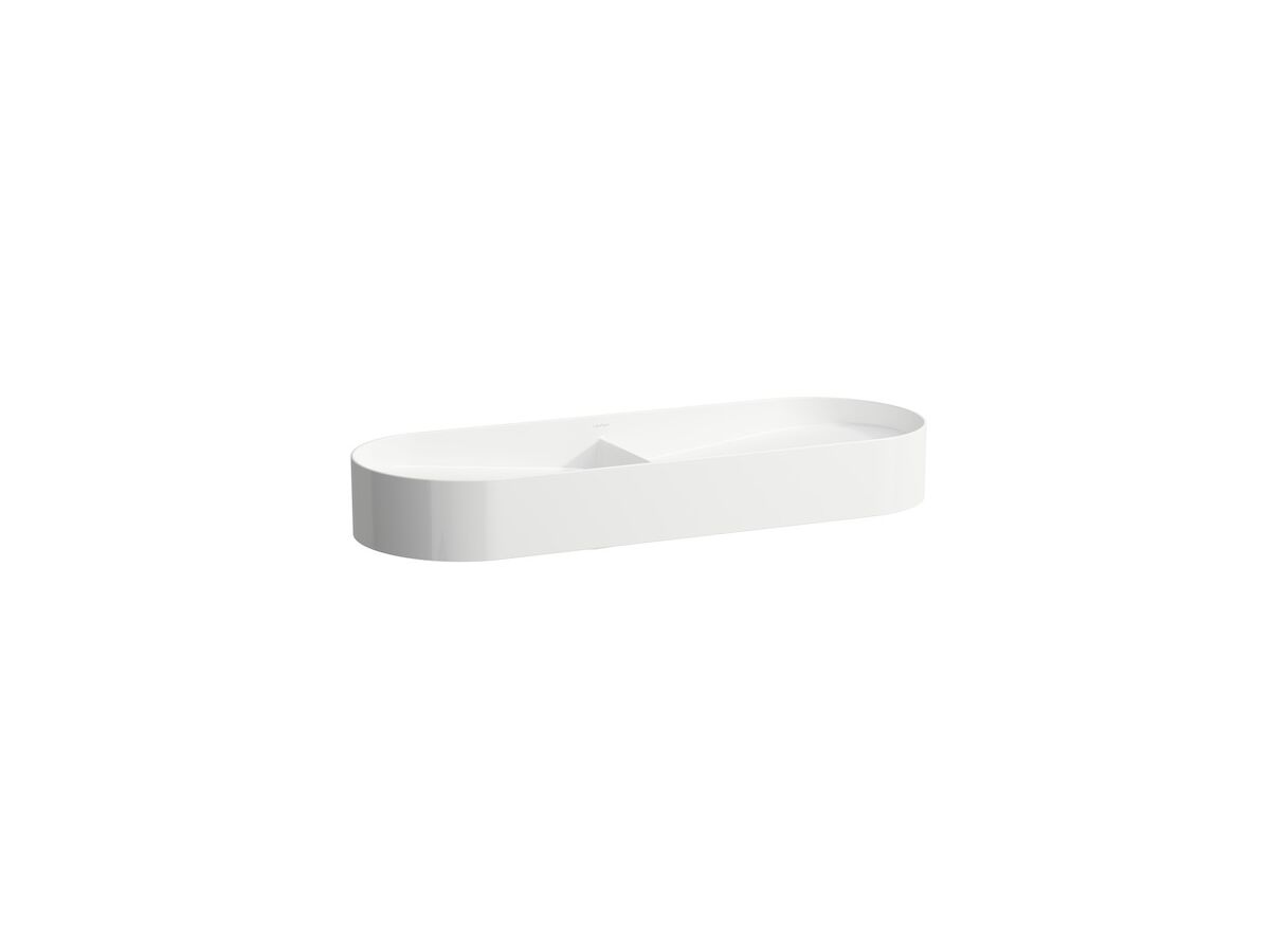 LAUFEN Sonar Double Basin with Ceramic Waste Covers White