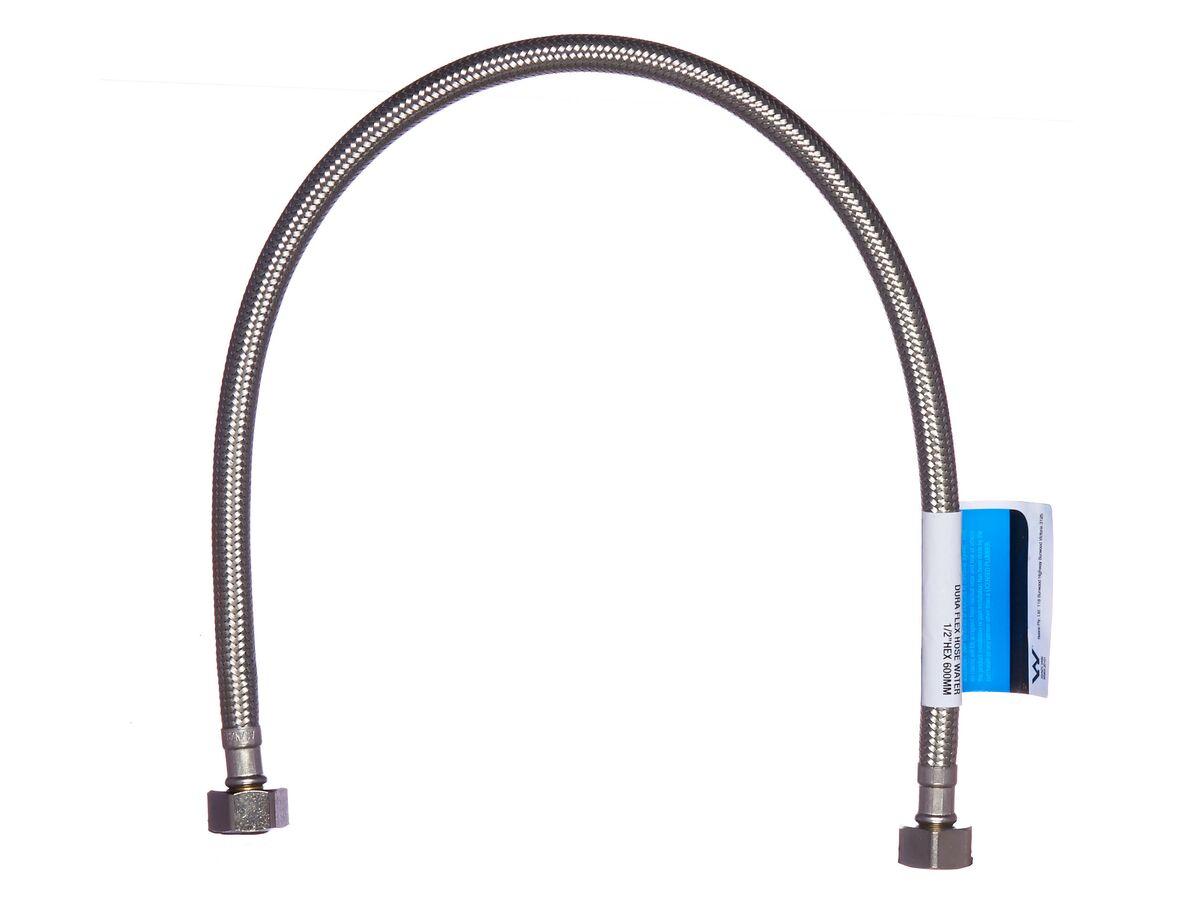"Dura Flexible Hose Water 1/2"" Hex 600mm"""