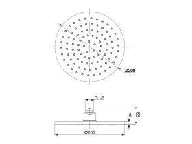 Mizu Drift Brass Overhead Shower 200mm (3 Star)