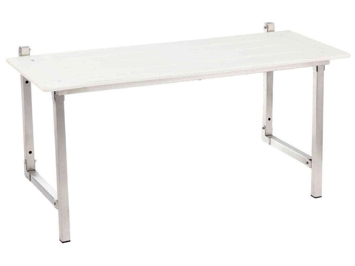 Wolfen Folding Shower Seat 960mm Stainless Steel & White