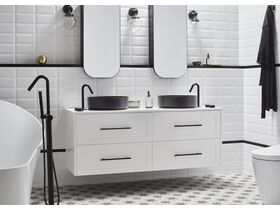 Milli Exo Robe Hook / Milli Pure Basin Set / Milli Pure Floor Mounted Mixer with Handshower Matte Black
