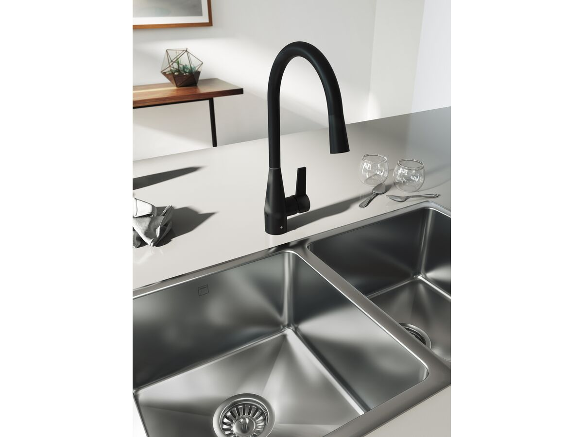 Memo Sia Sensor Gooseneck Sink Mixer Tap Dual Function Right Hand Lever Matte Black (4 Star)