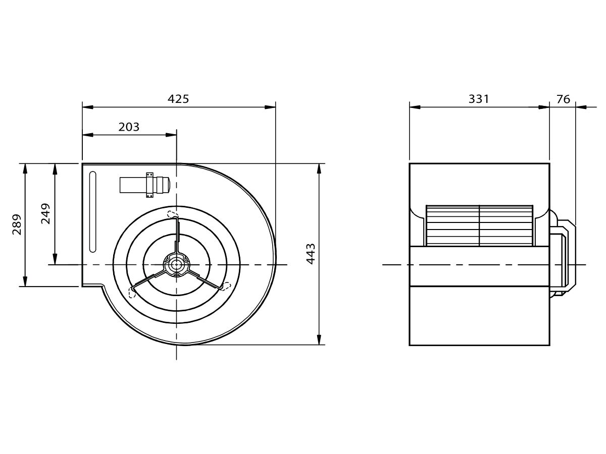 Technical Drawing - Kruger Centrifugal Fan KDD10/10 750W4P-1 3S