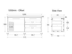 ADP Medina Vanity Unit Wall Hung 1 Door 2 Drawer 1200mm