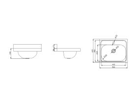 Wolfen Wall Hand Basin 500 x 420mm Centre 1 Taphole Stainless Steel