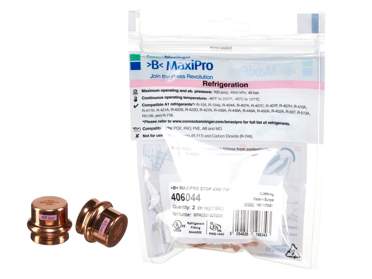 """>B< Maxipro Stop End 7/8"""" Bag of 2"""""""