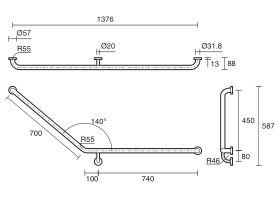 Mobi Right Hand Grab Rail 840 x 700mm 140 Degree