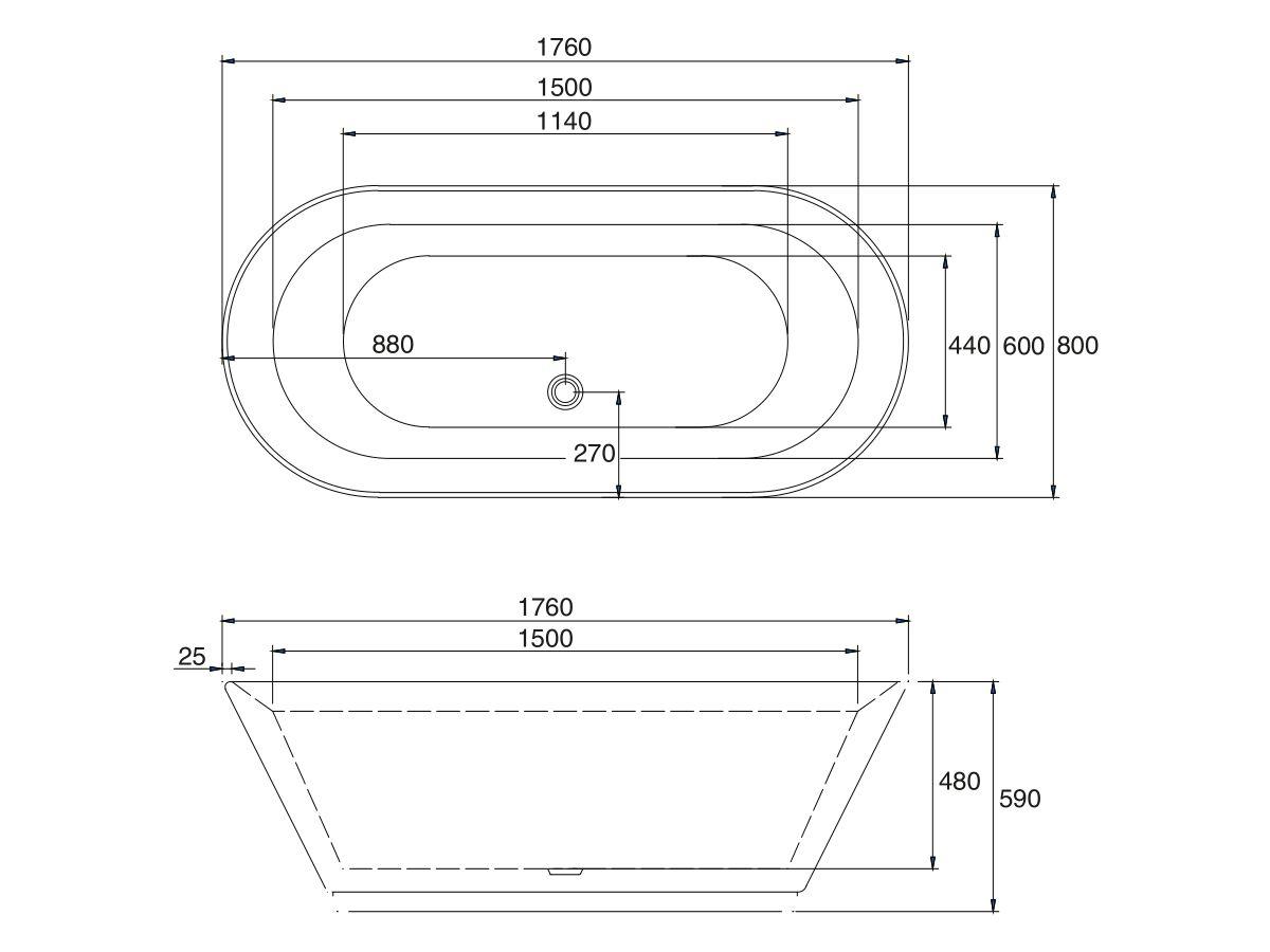 Base Freestanding Bath 1760 x 800 x 590mm White