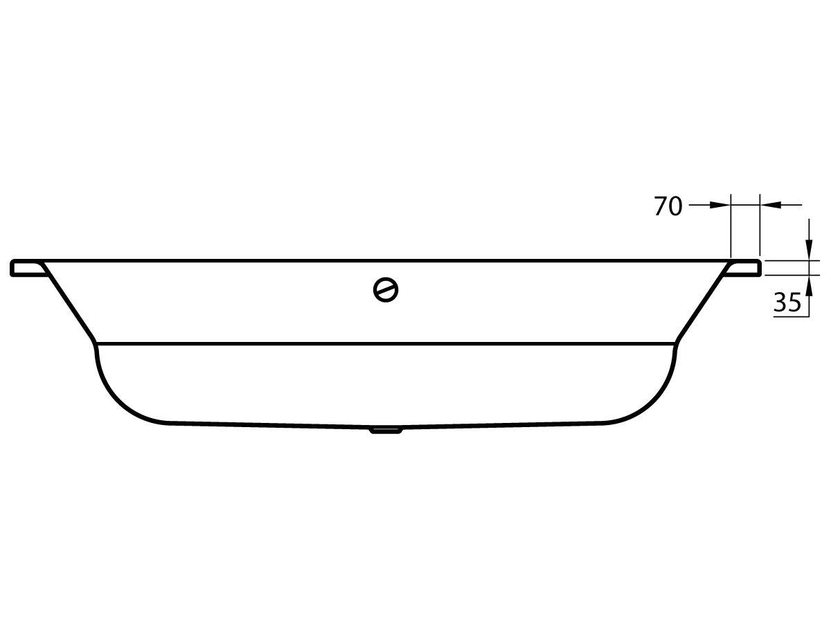 Roca Duo Plus Oval Inset Bath 1800x800mm Chrome Overflow, White