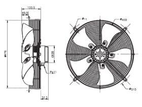 Technical Drawing - SolerPalau Fan 450mm 1Ph HRB/6-451/32BMN