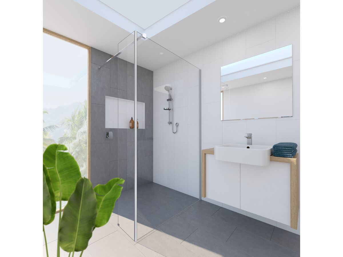 Kado Lux Fixed Shower Screen Panel with Side Panel and Wall Support Chrome