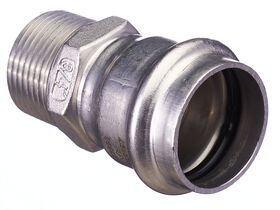 """>B< Press Stainless Steel Male Straight Connector 28mm x 3/4"""""""""""