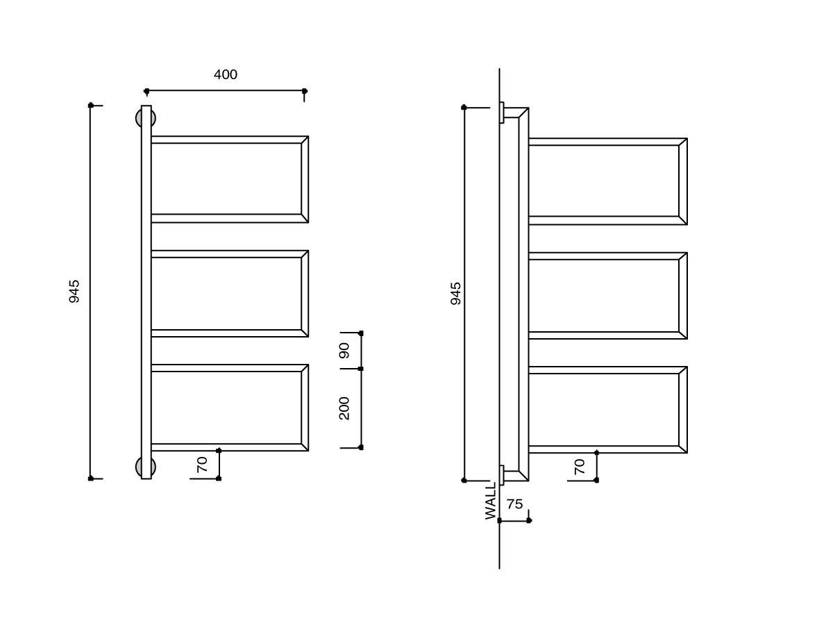 Kado Aspect Swivel Heated Towel Rail Wall Mount 945mm x 400mm Chrome