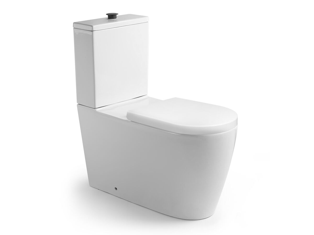 Wolfen Close Coupled Back to Wall Toilet Suite with Double Flap Seat 800mm White (4 Star)