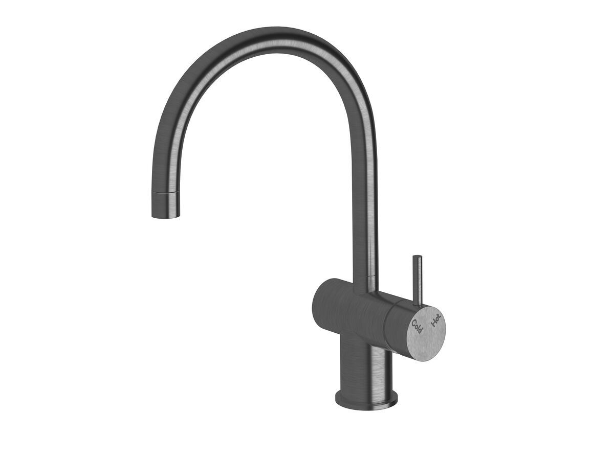 Scala Mini Sink Mixer Curved Large RH LUX PVD Brushed Smoke Gunmetal (5 Star)