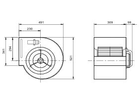 Technical Drawing - Kruger Centrifugal Fan KDD12/9 709W6P-1 3S