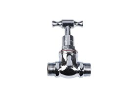 Stop Tap Male & Male T-Head Chrome 15mm