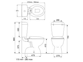 Posh Solus Link Toilet Suite S Trap with Soft Close Seat White (4 Star)