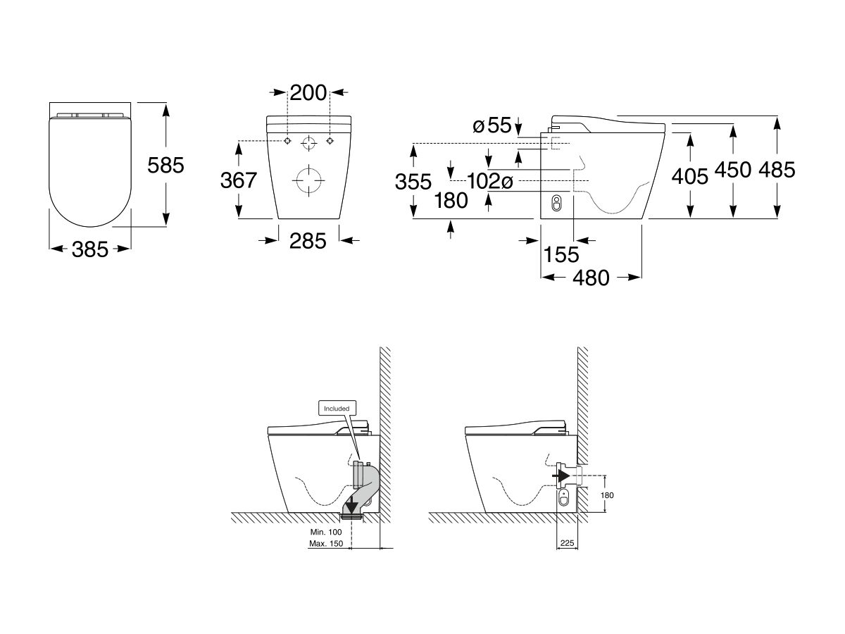 Roca In-Wash Inspira Smart Toilet Rimless Back To Wall Pan (4 Star)