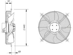 Technical Drawing- SolerPalau Fan 350mm 1Ph HRB/4-300APN