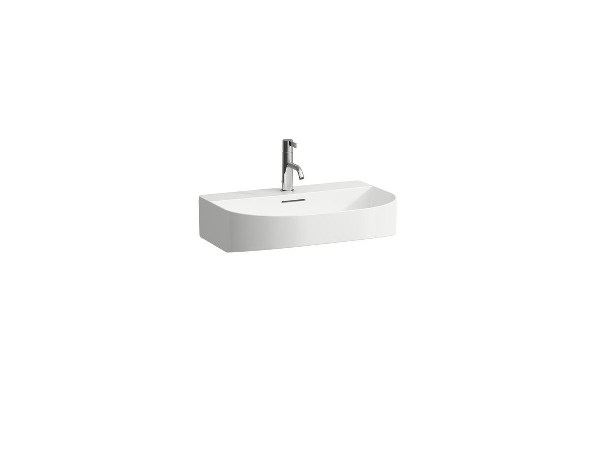 LAUFEN Sonar Wall Basin with Overflow 1 Taphole 600x420 with Fixing Bolts White