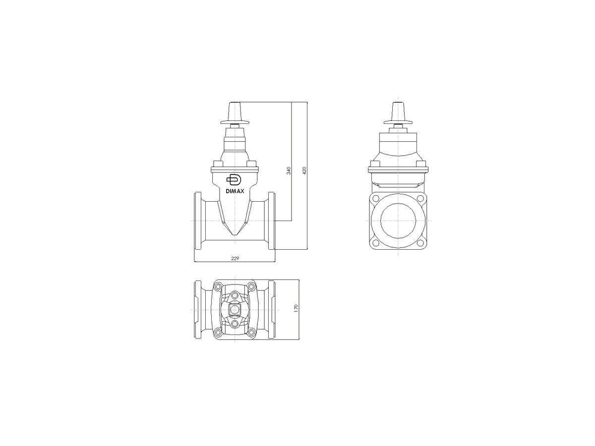 Line Drawing - 100 DIMAX FL PN16 RS GATE VALVE B5