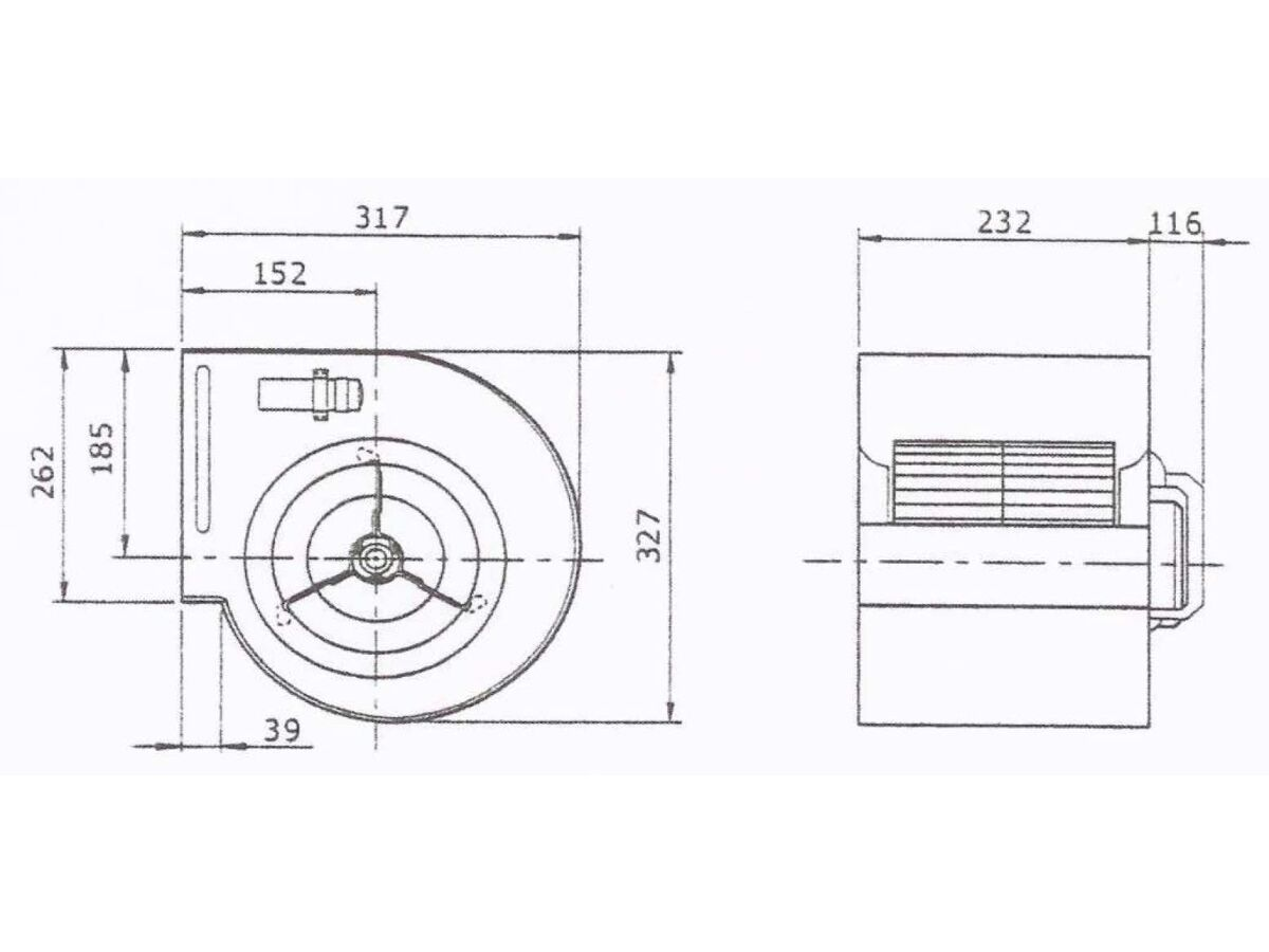 Technical Drawing - Kruger Centrifugal Fan KDD 9-7T550W4P-1 3S