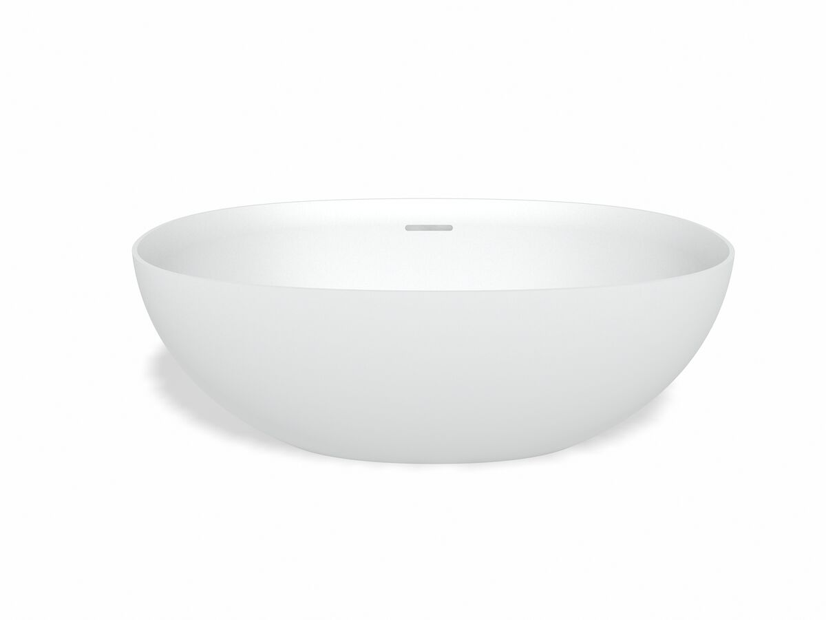 Kado Lussi Cast Solid Surface Thin Edge Vessel Basin with Plug & Waste 500mm White