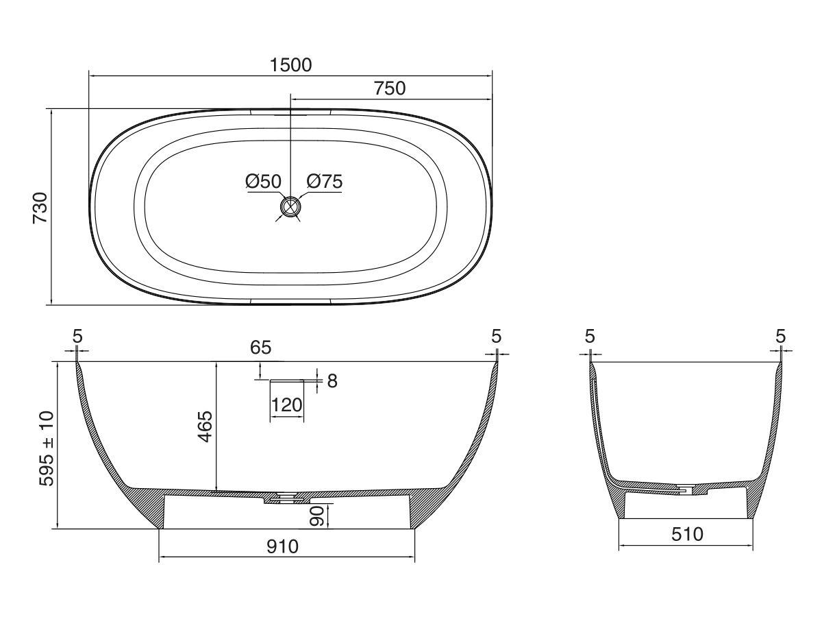 Kado Lussi Free Standing Bath Thin Edge 1500mm