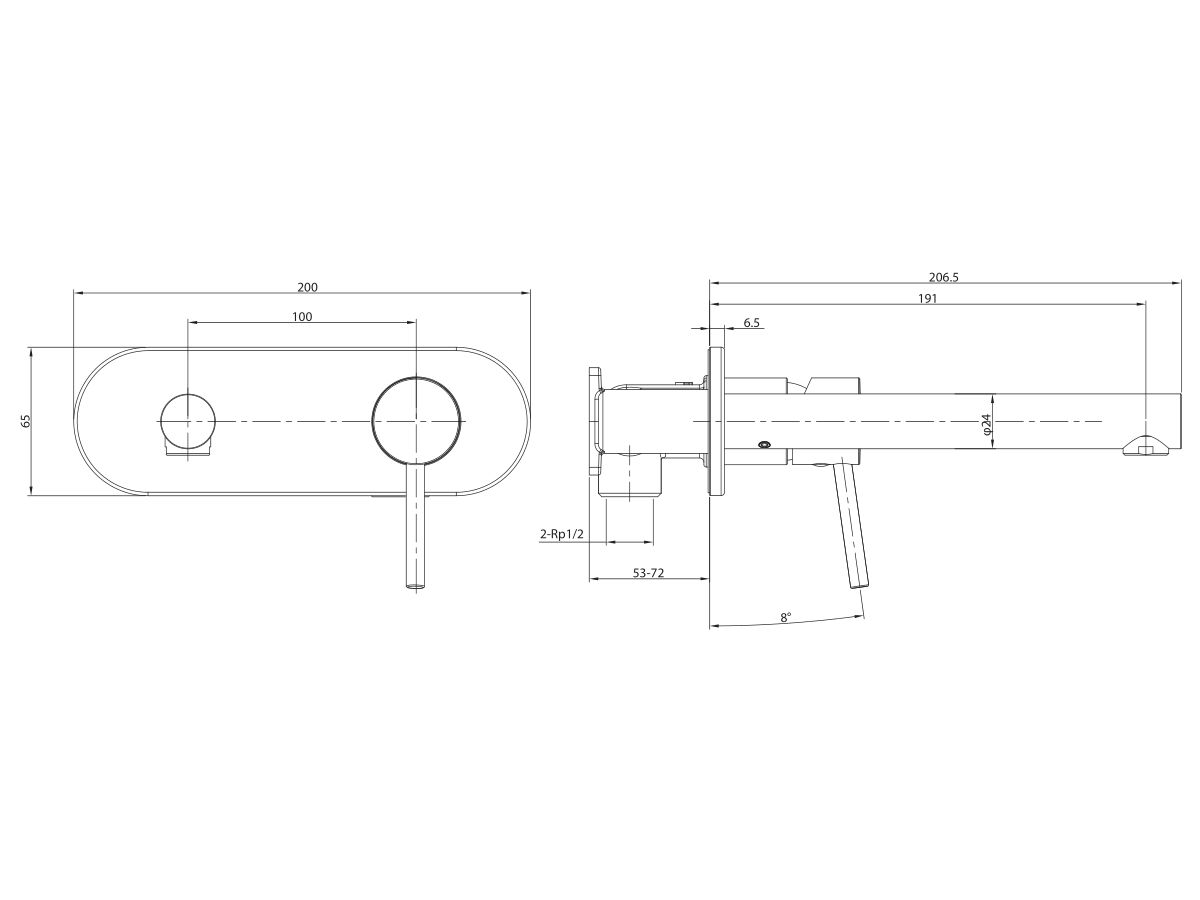 Mizu Drift MK2 Wall Bath Mixer Set