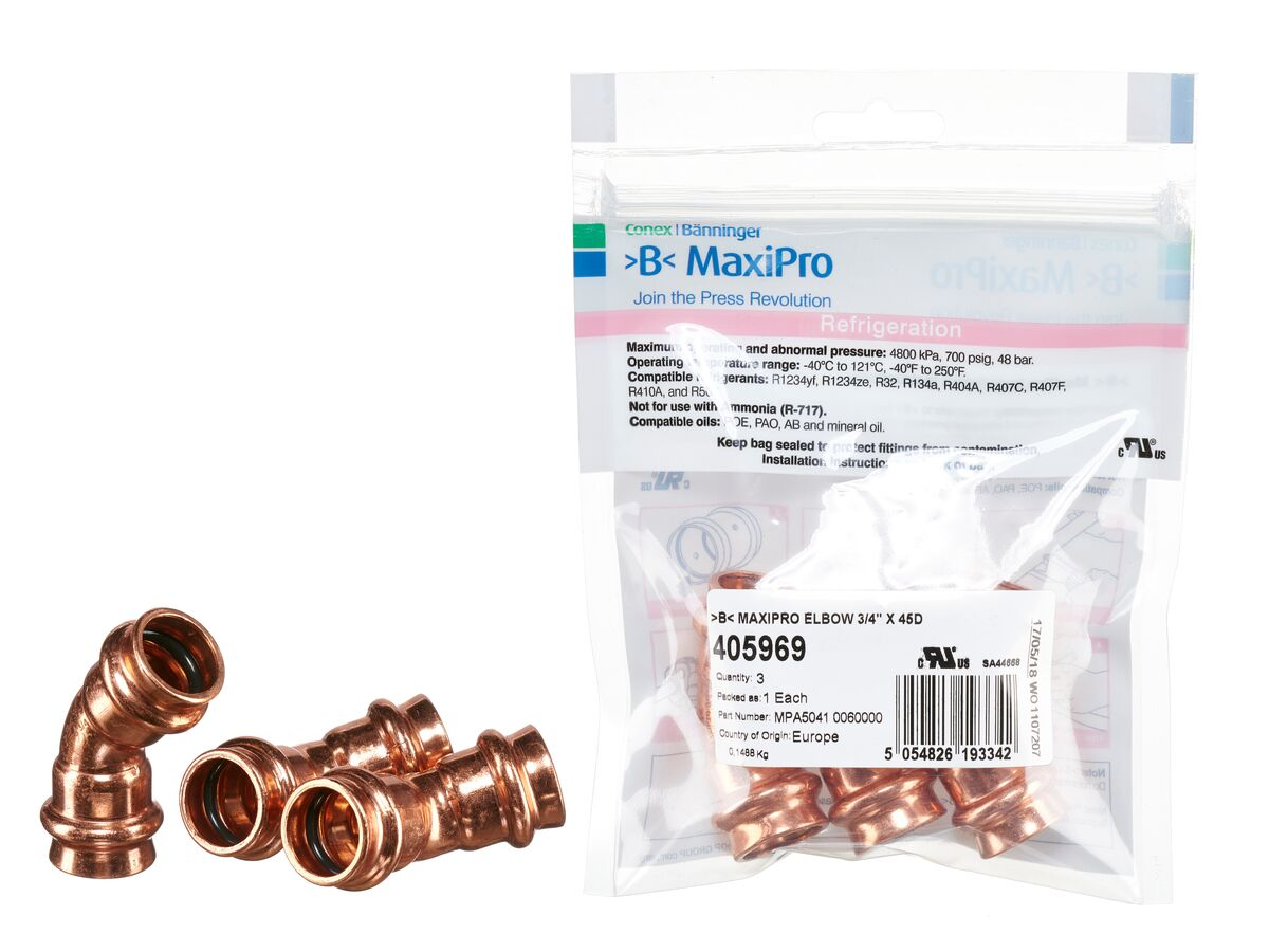 ">B< Maxipro Elbow 45 Degree x 3/4"" Bag of 3"""