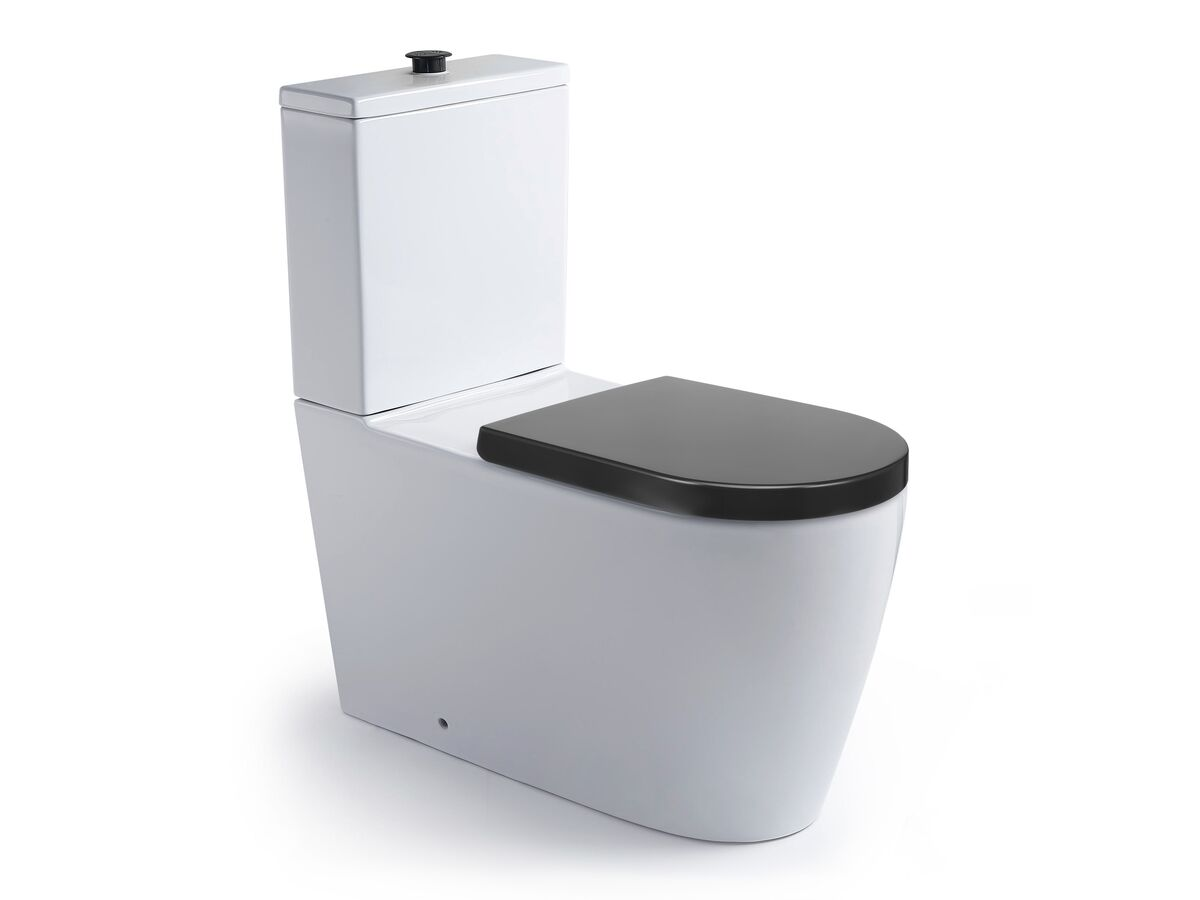 Wolfen Close Coupled Back to Wall Toilet Suite with Double Flap Seat 800mm Grey (4 Star)
