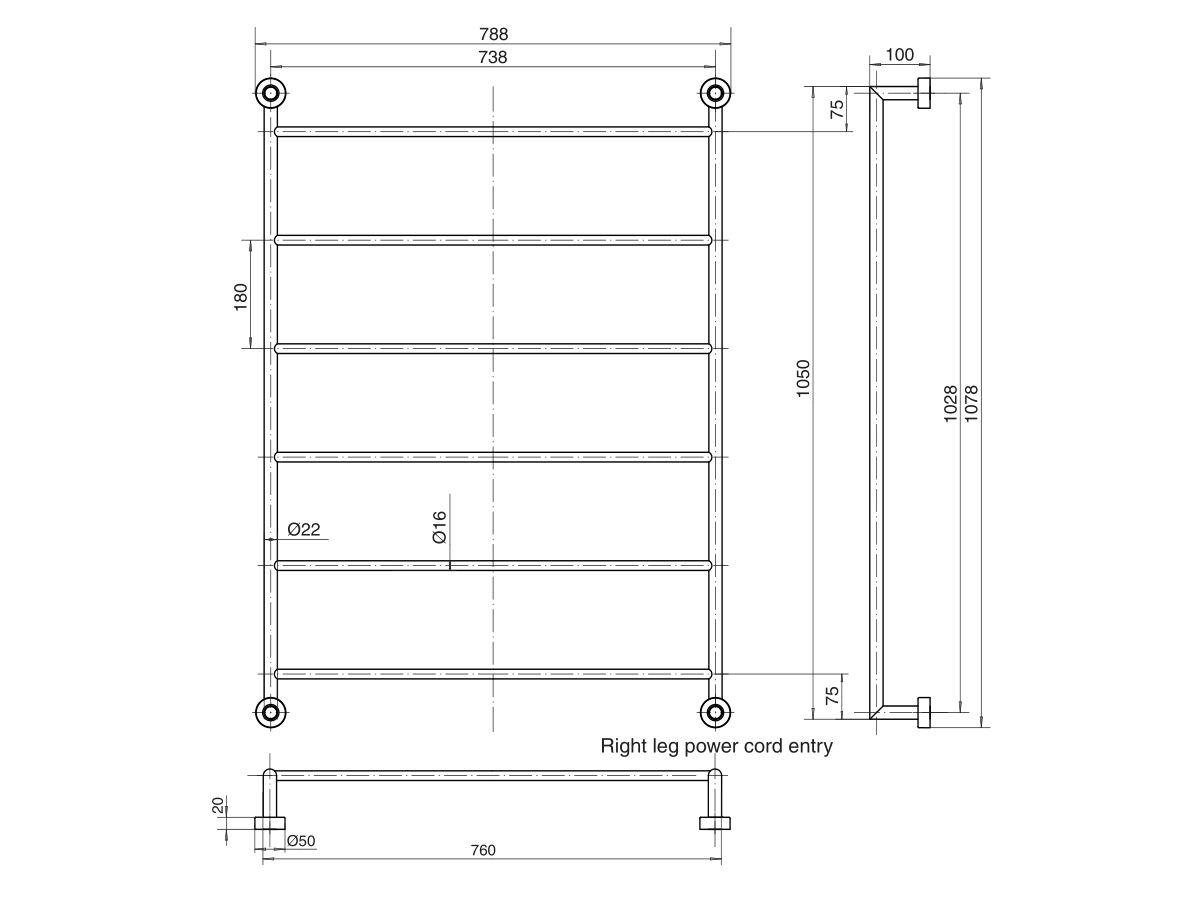 Mizu Drift Heated Towel Rail 760mm x 1050mm Polished Stainless Steel