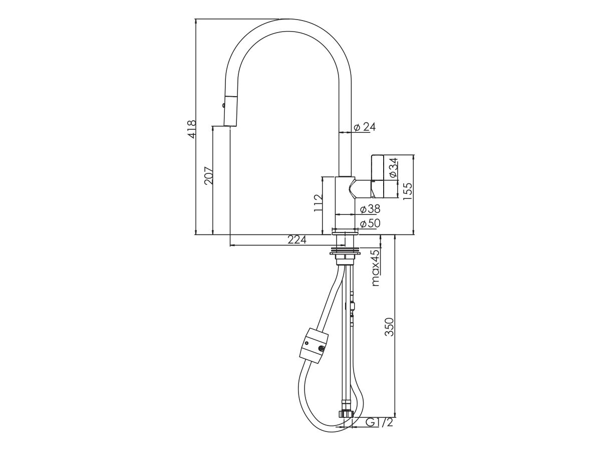 Nobili Flag Pull Out Sink Mixer