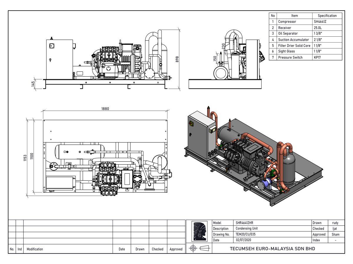 Tecumseh Semi Hermetic Receiver Unit SHR4641zhr