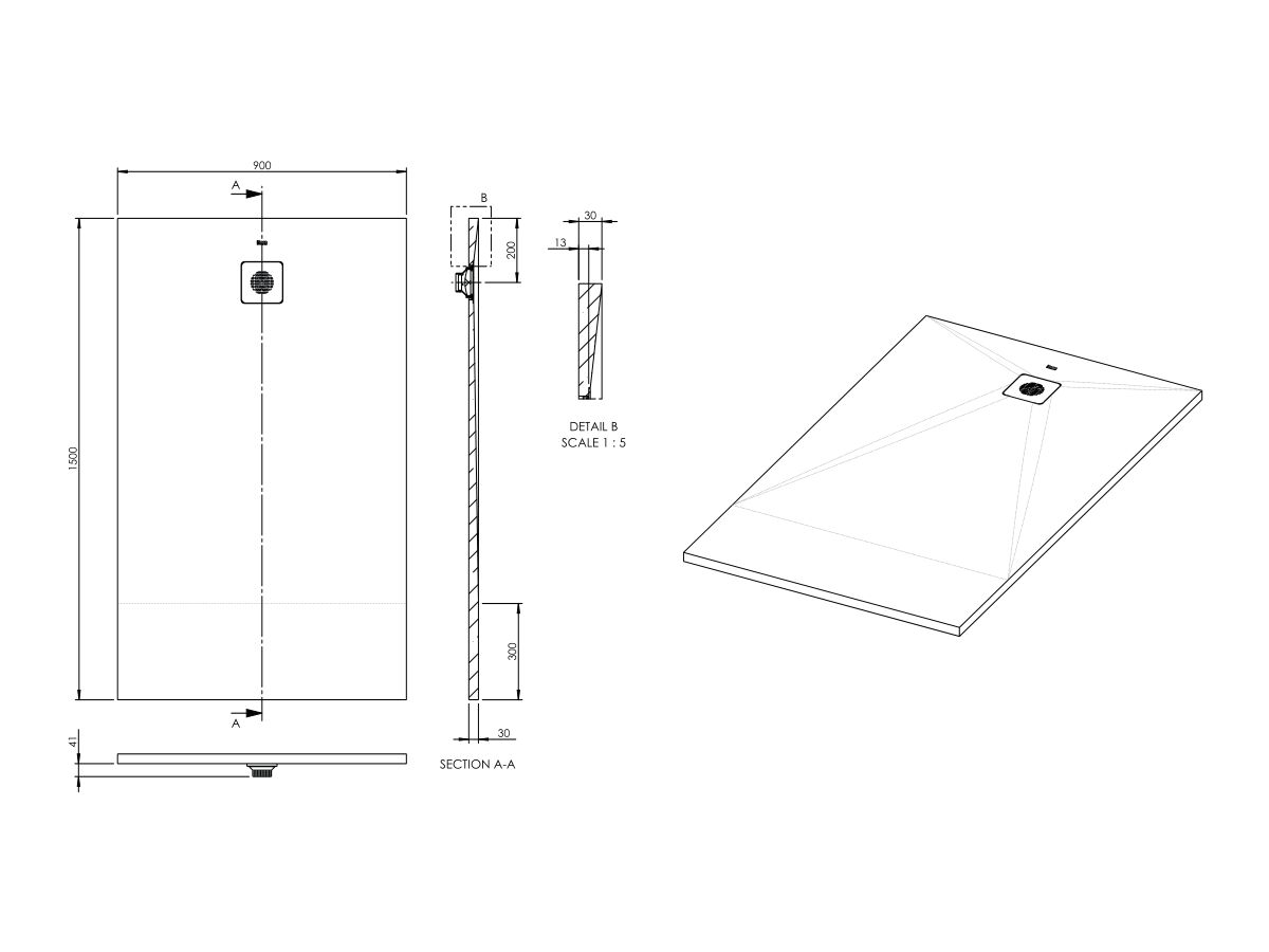 Roca Cyprus Shower Floor 900 x 1500mm