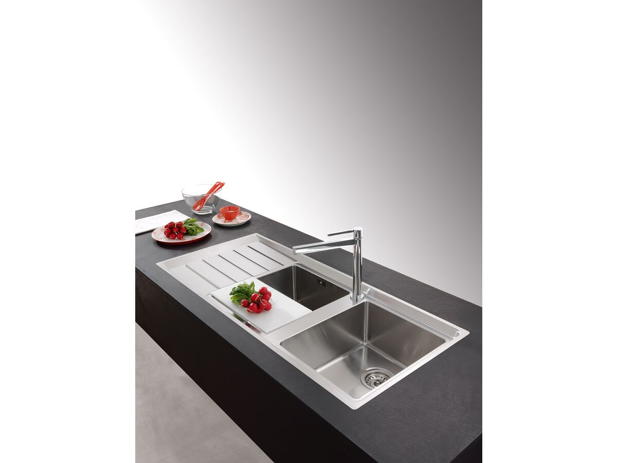 Franke Neptune Plus NPX621 Double Bowl Sink with Right Hand Bowls Left Hand Drainer 1160mm Stainless Steel