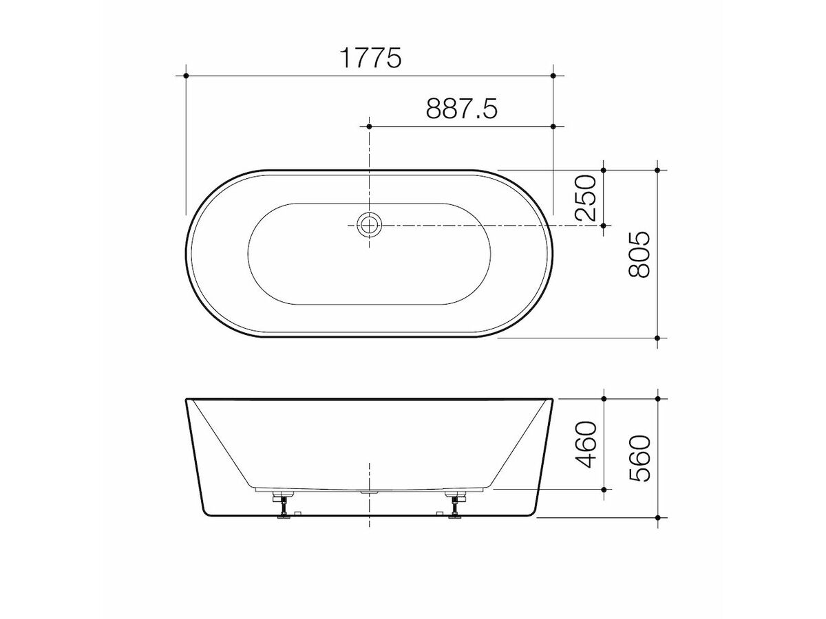 Caroma Urbane II 1780mm Freestanding Bath White
