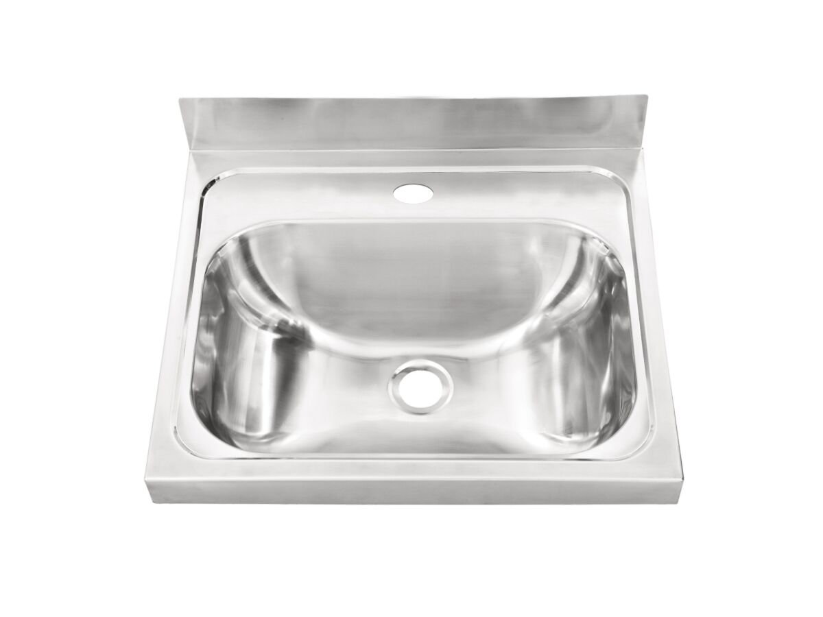 Wolfen Wall Hand Basin Stainless Steel 500x420mm Centre 1 Tap Hole (Less Wall Bracket)