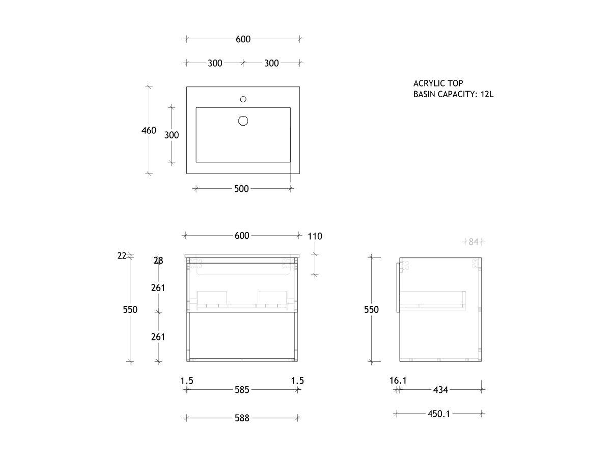 Posh Domaine Shelf All-Drawer 600 Wall Hung Acrylic