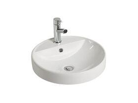 Kado Lux Round Semi Inset Basin 1 Taphole 460mm White